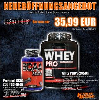 Für die Muskelfans: Prosport,Whey Pro,2350g PLUS BCAA 230 Tabletten statt 88,40 + 10% Rabatt möglich und kostenloser Versand ab 50 EUR