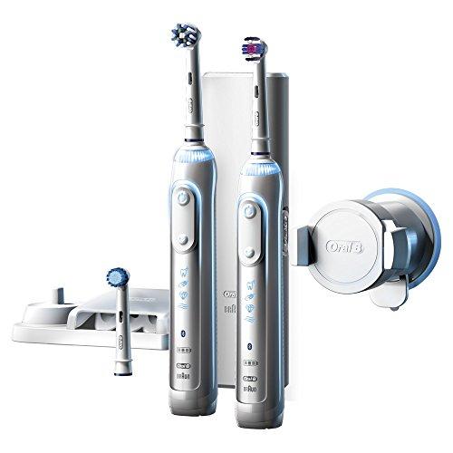 [Amazon Blitzangebot] Oral-B Genius 8900 Elektrische Zahnbürste (Oral-Bs beste elektrische Zahnbürste mit 2. Handstück, Positionserkennung, Lithium-Ionen-Akku, Bluetooth, Timer, Reiseetui, CrossAction, powered by Braun)