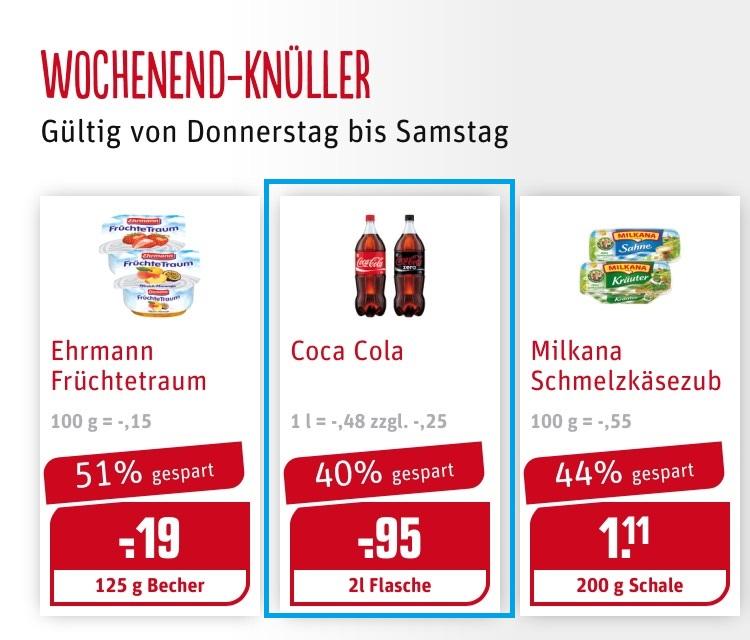 Coca Cola 2L Flaschen im Wochenendknüller bei Rewe für 0,95 .- €