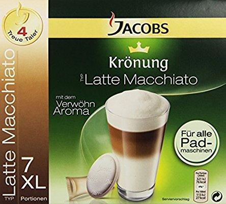 """Jacobs Krönung """"Latte Macchiato"""" Pads, 7 Kaffeepads und 7 Milchkompositionen, 6er Pack (6x 162g )"""
