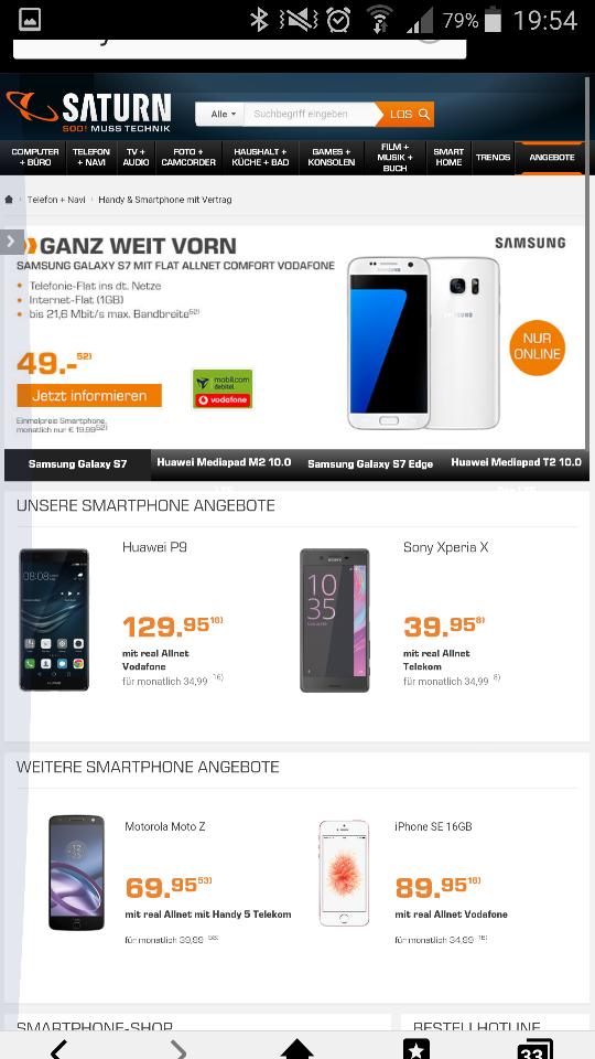 [Saturn Online] 19,99 Eur mtl. Samsung Galaxy S7 mit D2 Allnet Flat