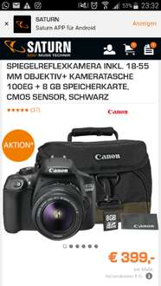 Canon 1300D mit Cashback Winteraktion + Mehrwertsteuernachlass