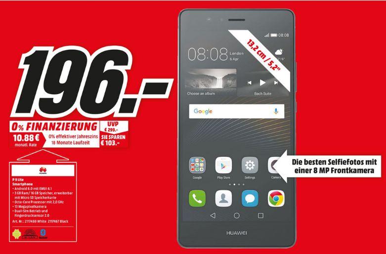 """[Lokal Mediamarkt Münster am 02.01 und 03.01] Huawei P9 lite schwarz oder weiß. 3GB Ram, (5,2"""") FHD Display, Android 6.0, 2.0GHz Octa-Core, 13MP Kamera, Dual-SIM für 196,-€"""