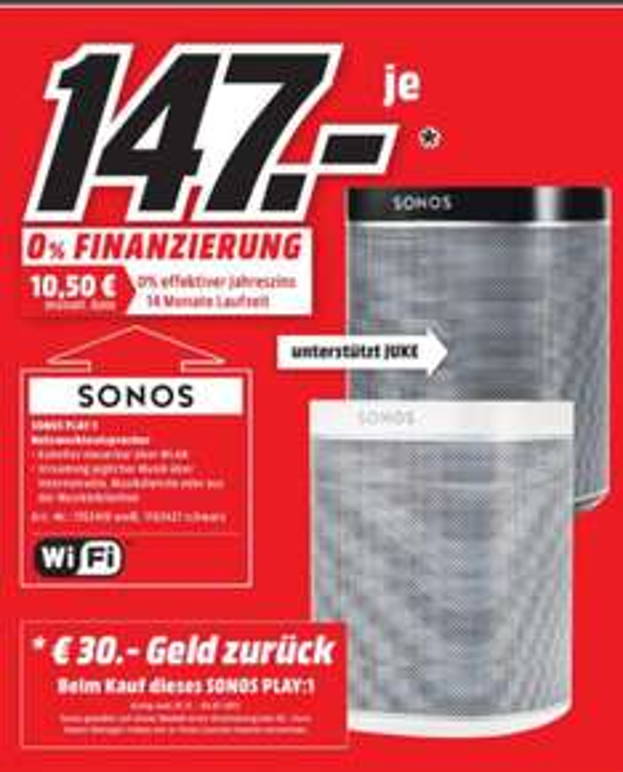 [Lokal Mediamarkt Nordhorn am 02.01 und 03.01] Sonos PLAY:1 I Kompakter Multiroom Smart Speaker für Wireless Music Streaming in Schwarz oder Weiß für je 147,-€
