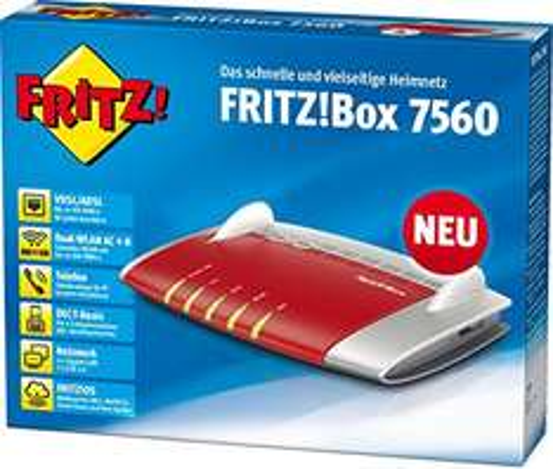[Amazon] AVM FRITZ!Box 7560 WLAN AC + N Router (VDSL-, ADSL-/ADSL2+-Modem, 866 MBit/s, TK-Anlage für Voice over IP mit DECT-Basis, Media Server)