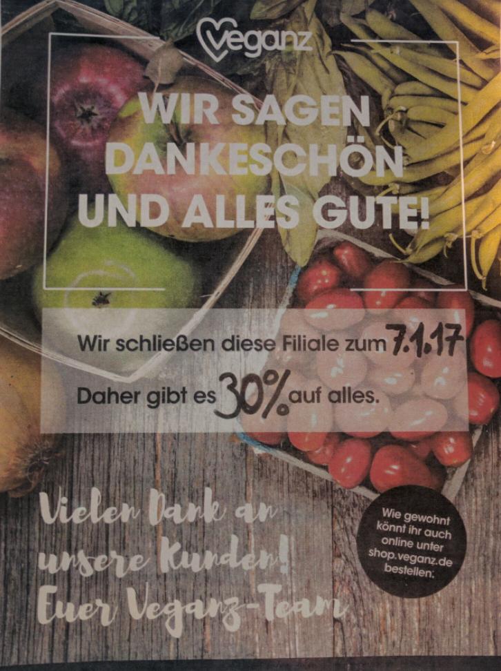 [lokal FfM] Veganz Bornheim Mitte schließt am 7.1 -> bis dahin 30% auf alles