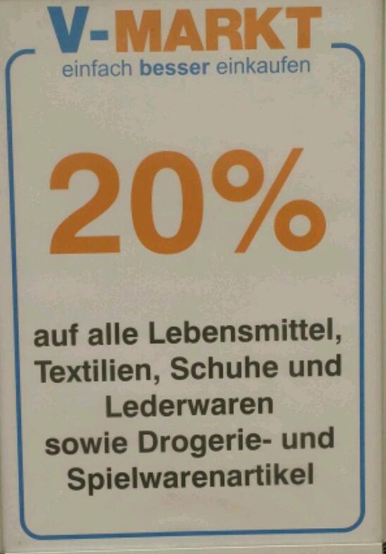 [Lokal Ulm] V-Markt 20% auf alles! [Update 30%!]