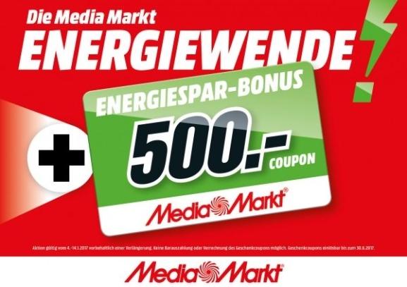"""""""Energiewende"""" bei Media Markt bis zu 25% als Coupon zurückbekommen - vom 4.1. bis 14.1. online und offline"""