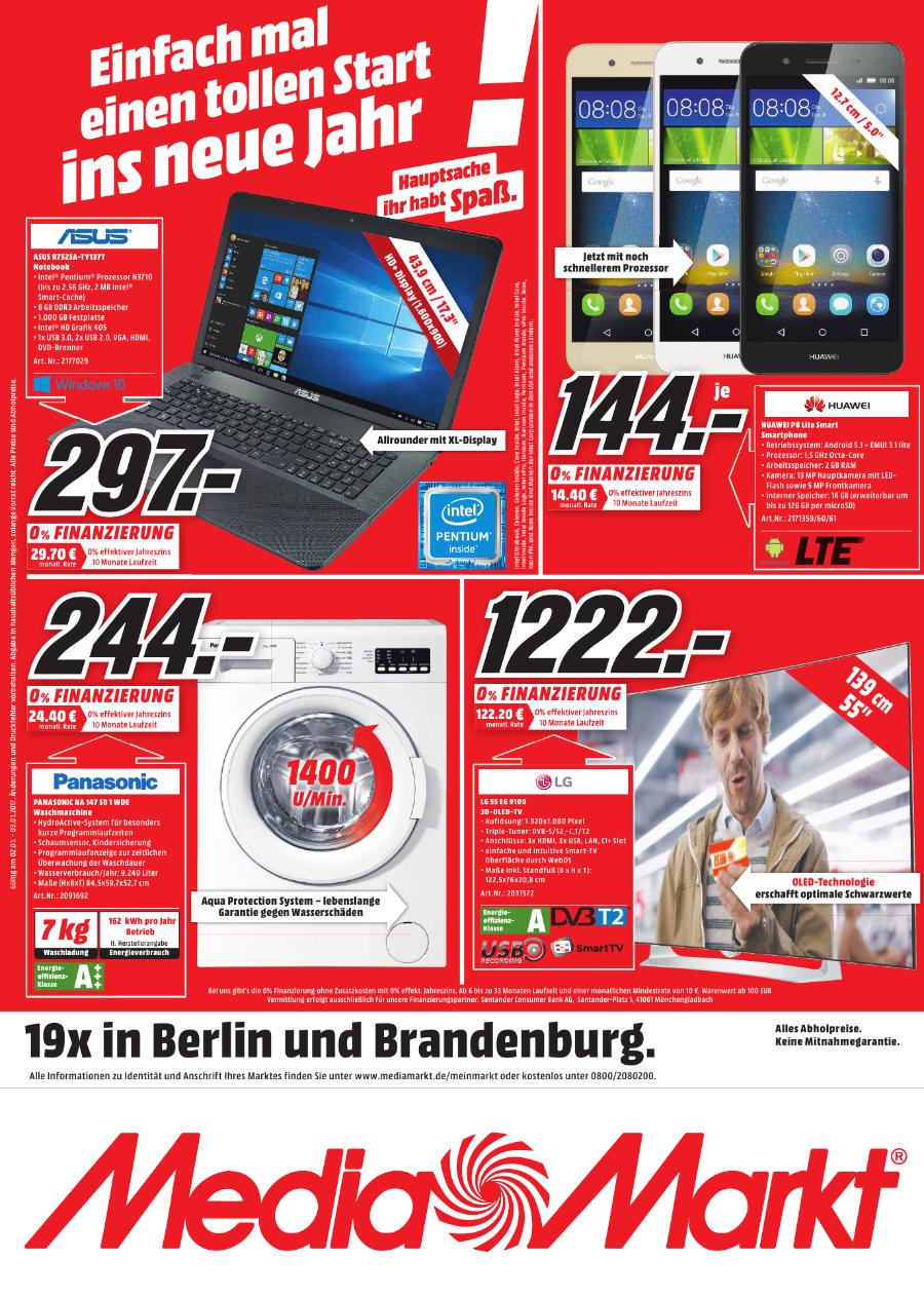 Asus Notebook, Panasonic Wasche, Huawei Smartphone & LG 3D OLED, Lokal in allen Mediamärkten in Berlin & Brandenburg