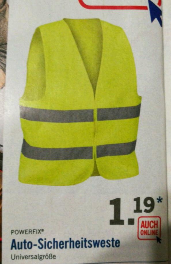 [LiDL] Warnweste / Auto-Sicherheitsweste in Gelb für 1,19€