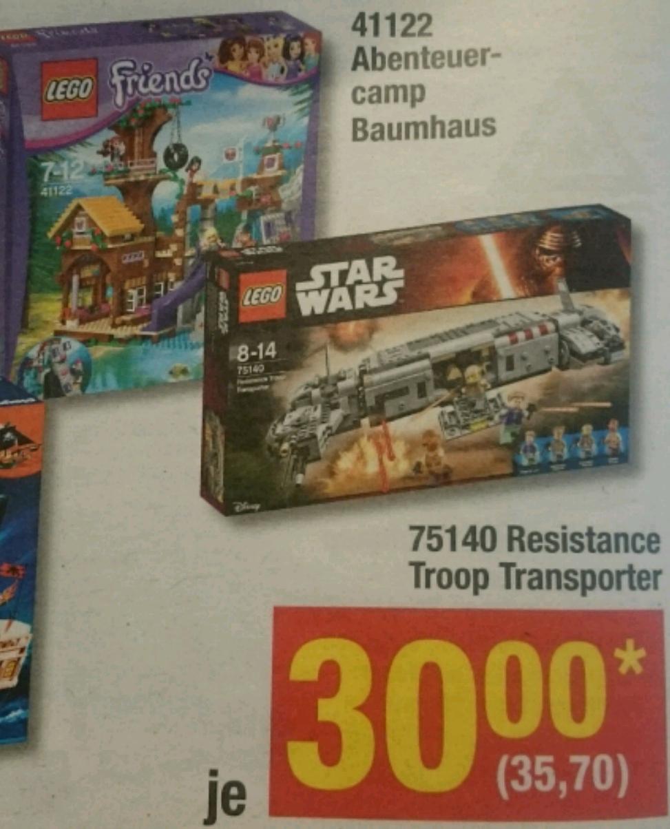 Lego Star Wars Resistance Troop Transporter 75140 und Friends Abenteuercamp Baumhaus 41122 ab 05.01 in der Metro