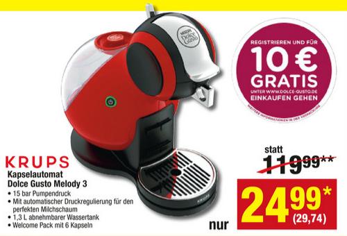 Krups Nescafé Dolce Gusto Melody 3 Rot KP 2205 zum Bestpreis + 10 € gratis Gutschein für dolce-gusto.de [METRO]