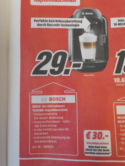 Bosch Tassimo Kapselmaschine 29 € + 30 € Tassimogutschein