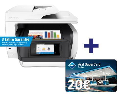 HP OfficeJet Pro 8720 für 199,50€ - 50€ Cashback + 20€Tankgutschein Aral bei Office-Partner - A4, Drucker, Scanner, Kopierer, Fax, WLAN, LAN, NFC, Duplex