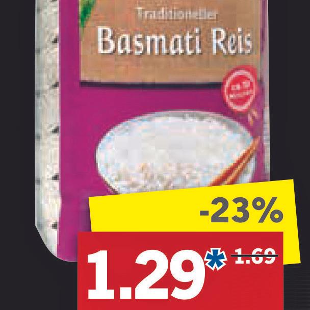 Basmati Reis 1000g - Packung für nur 1,29€ bei [Lidl]