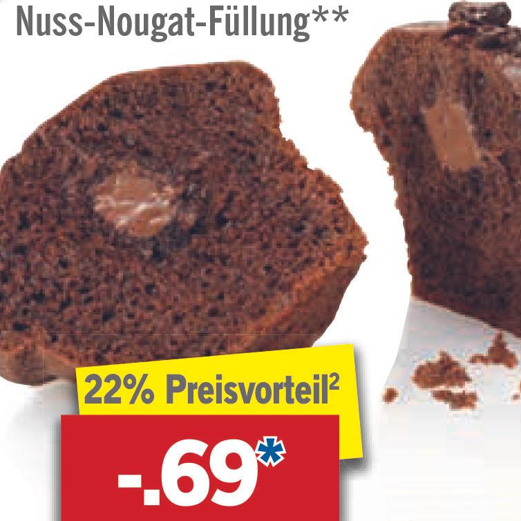 Schoko-Muffin mit Nuss-Nougat-Füllung für nur 69 Cent bei [Lidl]
