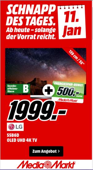 [Mediamarkt] LG OLED 55B6D für 1.999€ + 500 € Coupons - Schnapp des Tages am 10.01.; vielerorts schon jetzt erhältlich