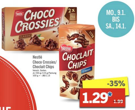 Nestlé Choco Crossies (150 g) o. Choclait Chips (115 g) [Lidl bundesweit]