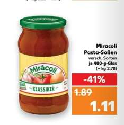 KAUFLAND Miracoli Pasta Soße für 0,11€