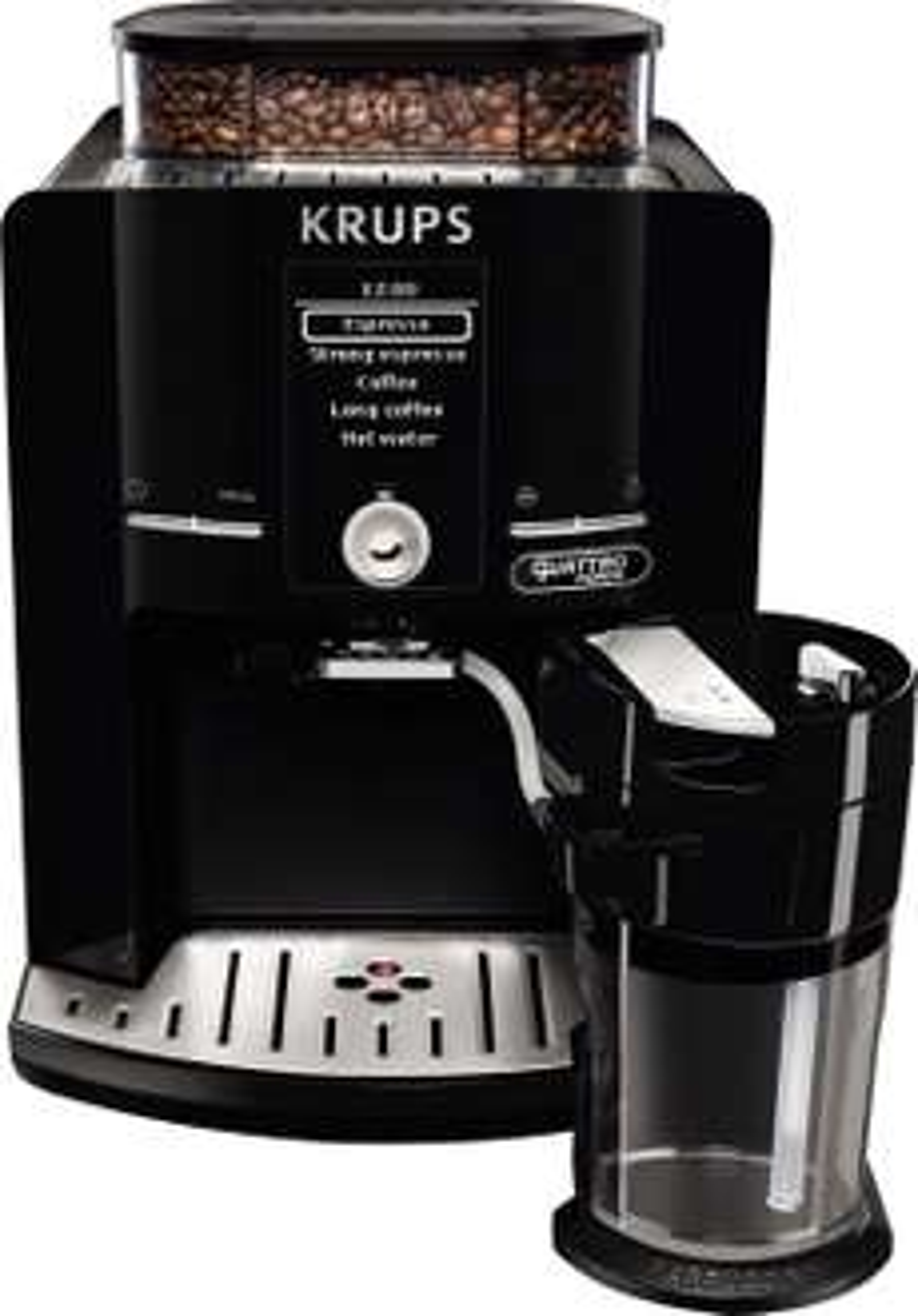 [Amazon Blitzdeal] Krups EA82F8 Kaffeevollautomat Latt'Espress Quattro Force, One-Touch Funktion, Milchbehälter, 1,7 L, 15 bar, schwarz / edelstahl