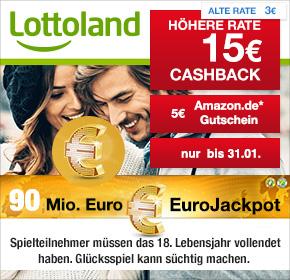 [Lottoland] für Neukunde 15€ Cashback + 5€ Amazon Gutschein + 6x EuroJackpot zum halben Preis (15€ Gewinn möglich)
