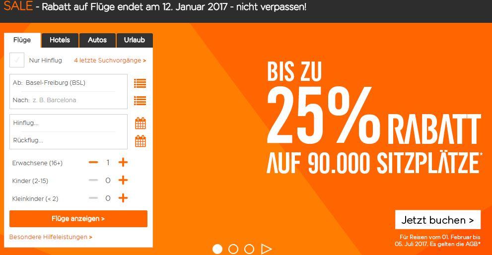 Easyjet: SALE bis zu 25% Rabatt auf ausgewählte Flüge z.B. BSL - PMI ab 14.99€ oneway