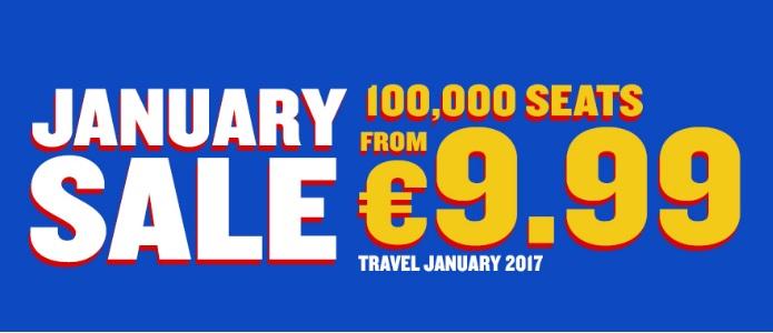 Januar Sale bei Ryanair: 100.000 Sitze ab 9,99€