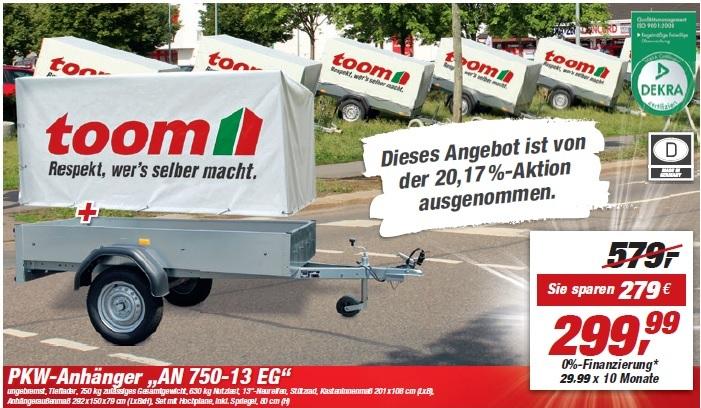 Toom Neueröffnung Schwerin Anhänger für 299€ ab 09.01.2017