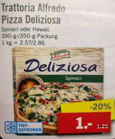 [Lidl-Bundesweit] Alfredo Deliziosa Pizza Spinat o. Hawaii 1€