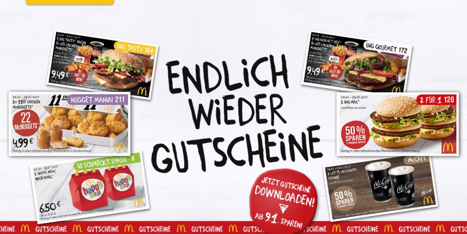 McDonald's Gutscheine ab 09.01. bundesweit