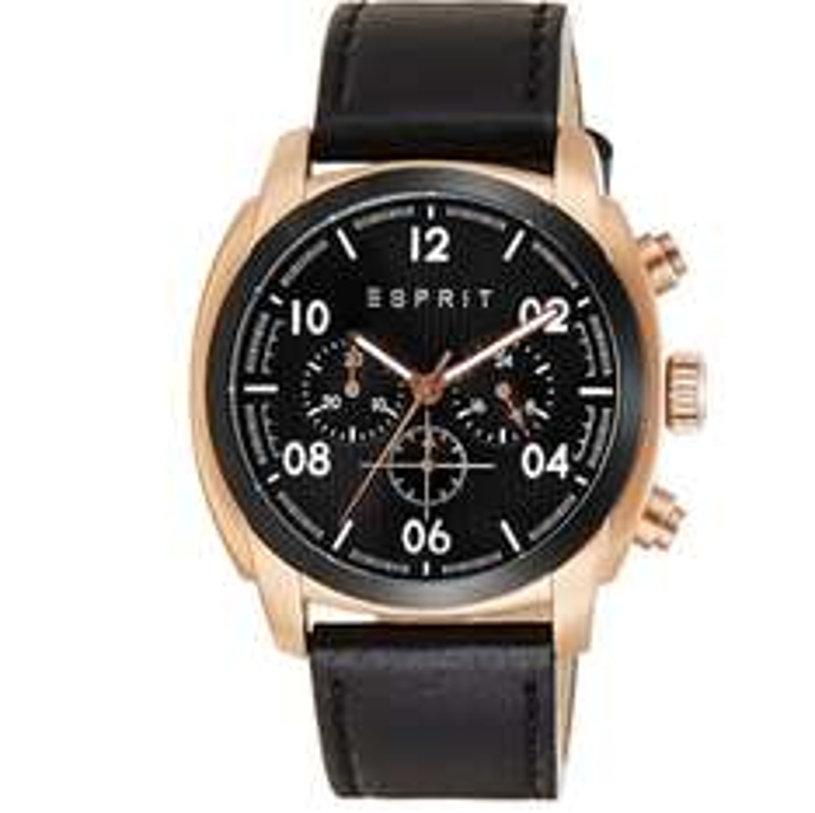 Esprit Herren-Armbanduhr Chronograph Quarz Leder - Statt 135€