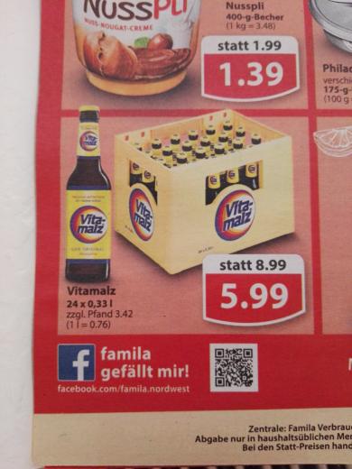 Lokal Famila Nordwest Vitamalz 24 x 0,33l Kiste 5,99 Donnerstag 12.01. bis Samstag 14.01.