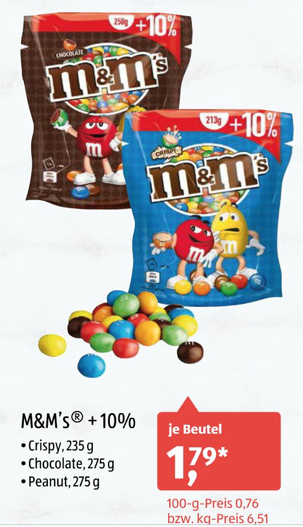 [Aldi-Süd/23.01.2017 und Aldi-Nord/13.01.-14.01.2017] m&m's +10% (Crispy 235g, Chocolate 275g, Peanut 275g) für jeweils 1,79€