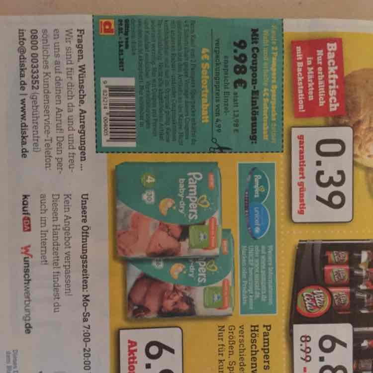 Diska Nordbayern und Ost 2 Pampers Sparpacks für 9.98 €