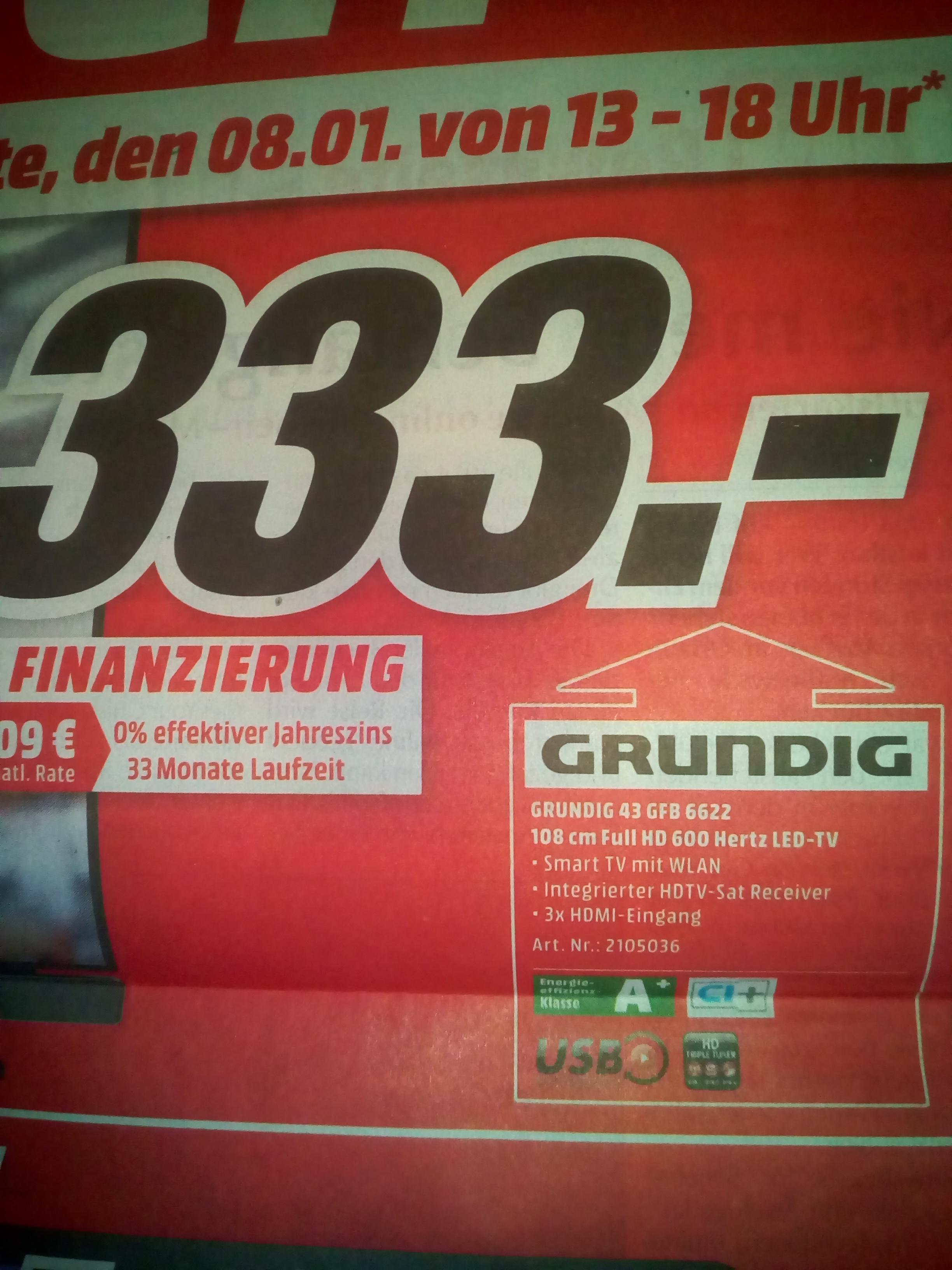 (Lokal) Media Markt Osnabrück Grundig 43 Zoll TV für 333€ statt 449€ plus Versand nur heute von 13-18 Uhr.