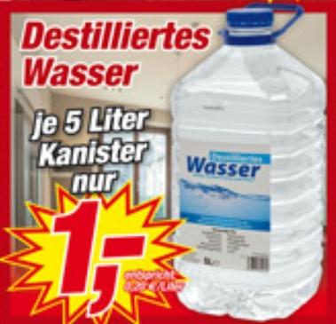 5 Liter Destilliertes Wasser bei Posten Boerse für 1 Euro