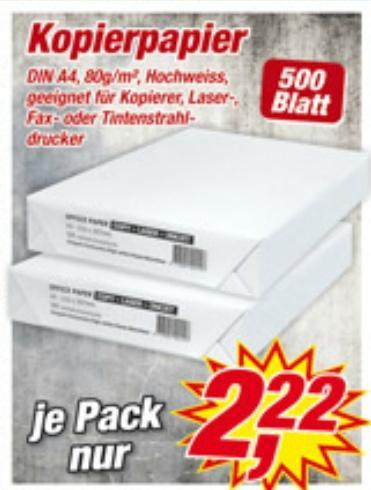 Kopierpapier für 2,22 bei Posten Boerse