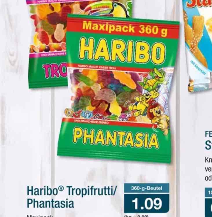 Aldi NordHaribo Tropifrutti/Phantasia 360 g Beutel 1.09€ KG 3.03€