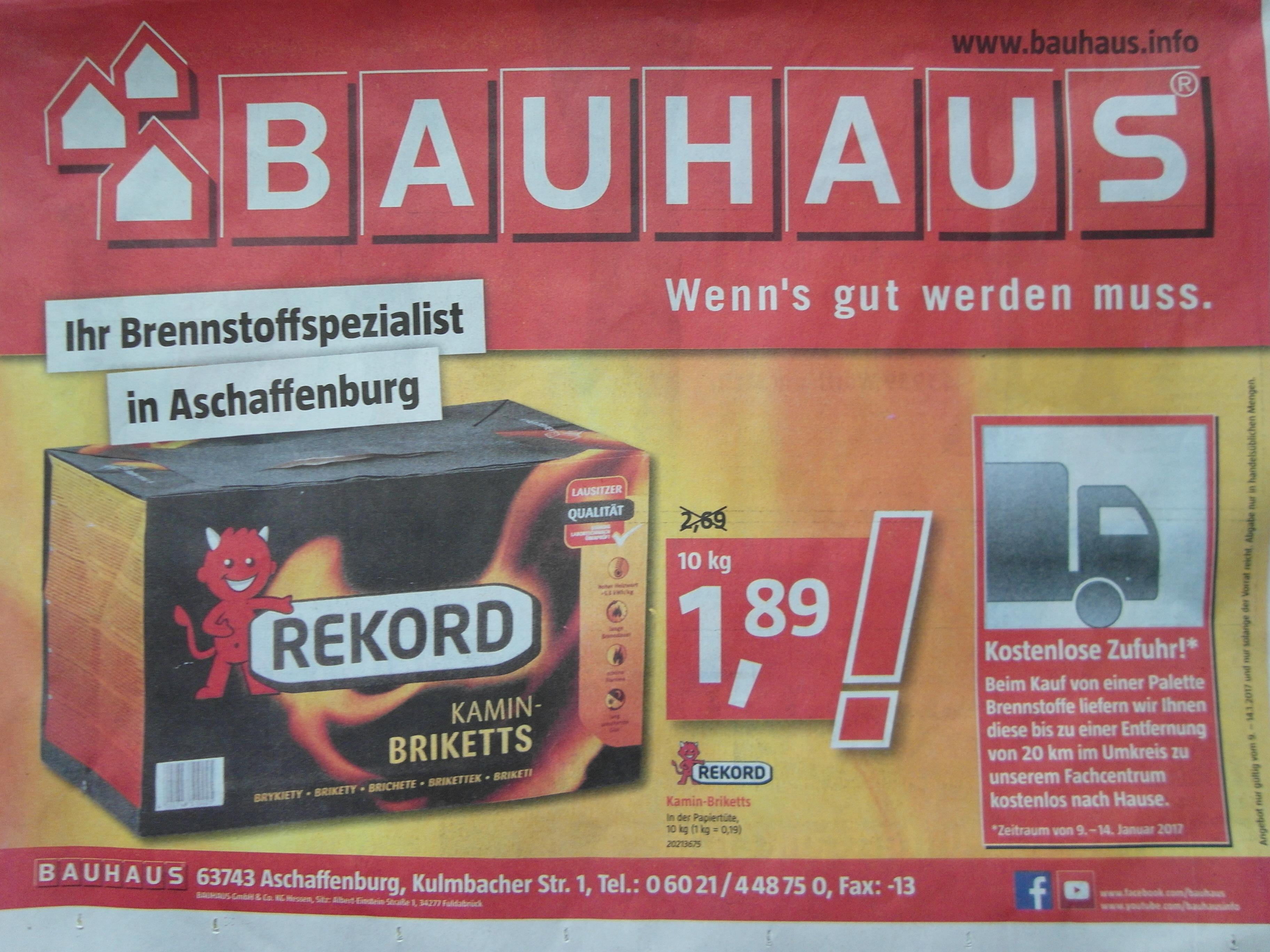 Lokal: Aschaffenburg Bauhaus 10 KG Kohlebriketts 1,89 & Kostenfreie Palettenlieferung