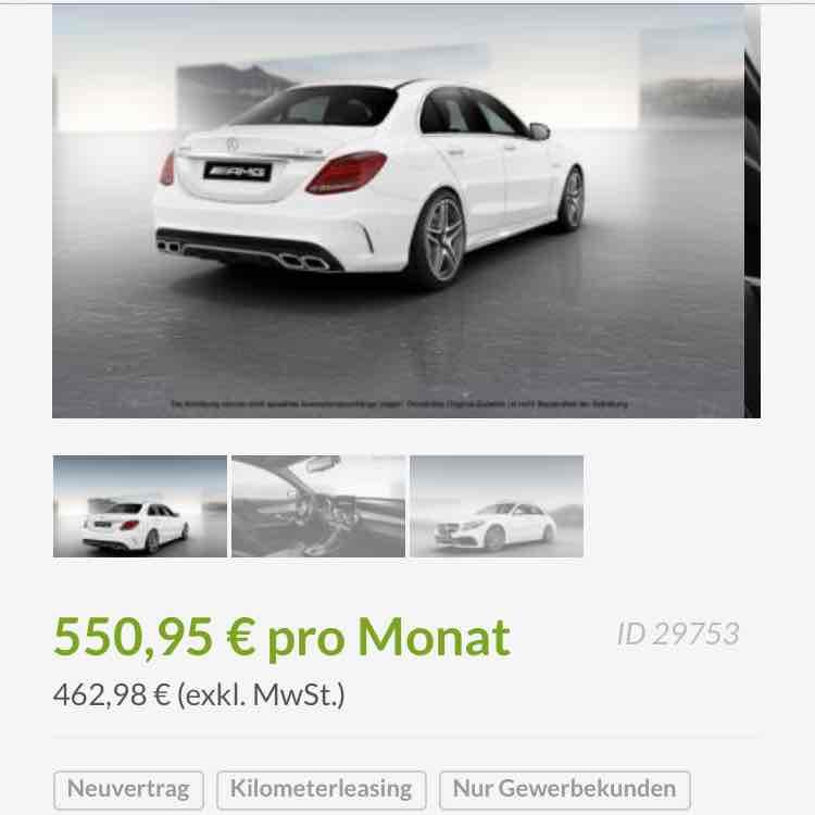 Gewerbe Leasing Brutto 550,95€ MERCEDES-BENZ C 63 AMG S