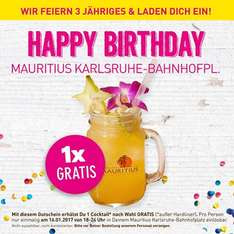 [Lokal Karlsruhe Hbf] Cocktail for free bei Mauritius am 16.01.17