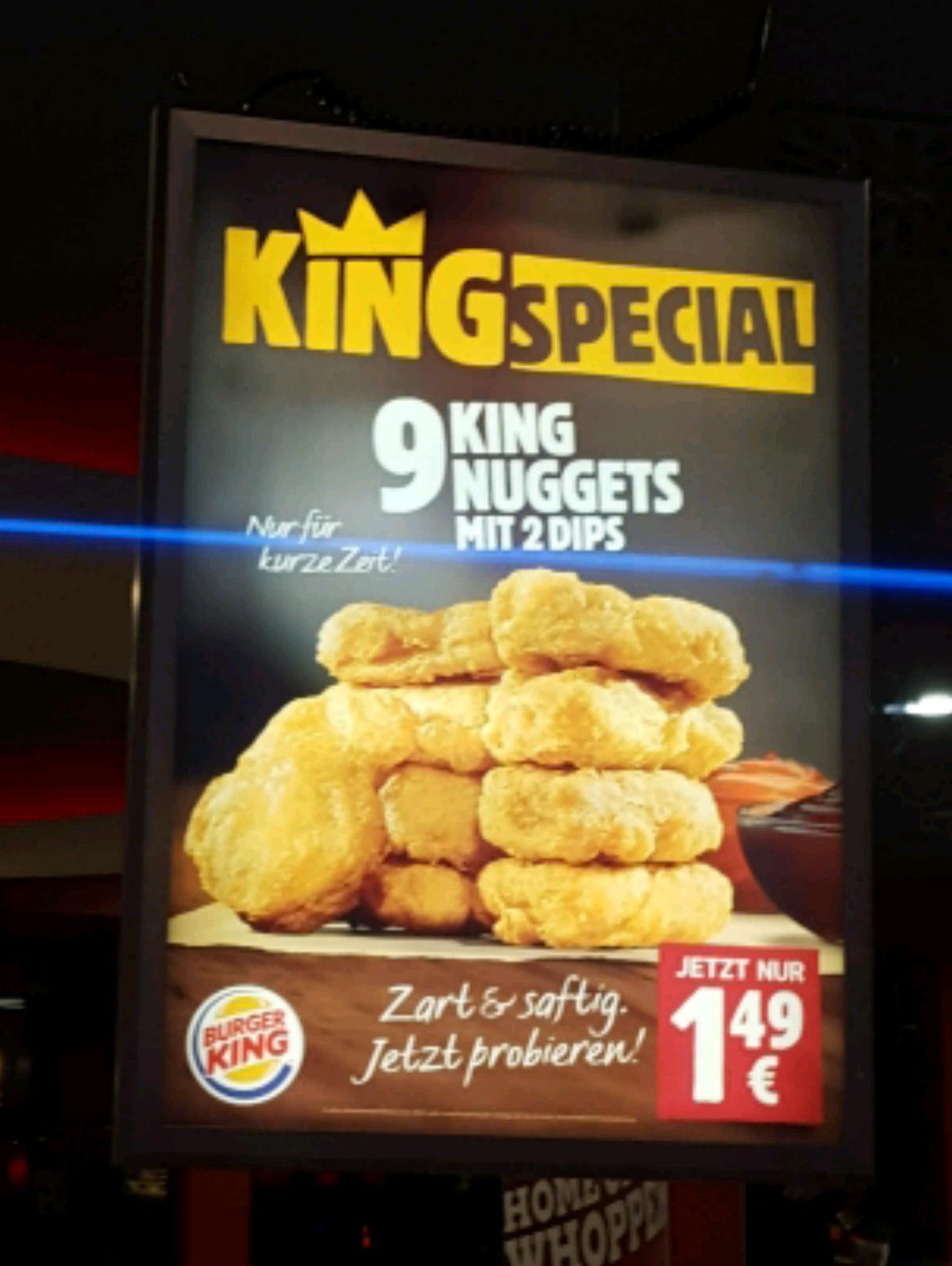 9er Nuggets ab heute bei [Burger King] für nur 1,49€