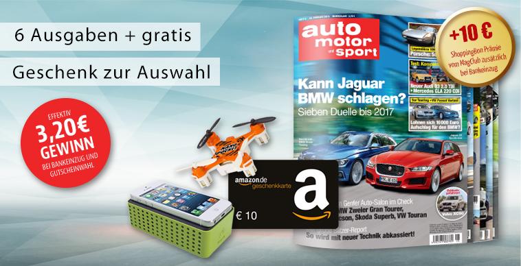 auto motor sport Probeabo x 6 Ausgaben inkl 10 € Amazon + 10 € ShoppingBon