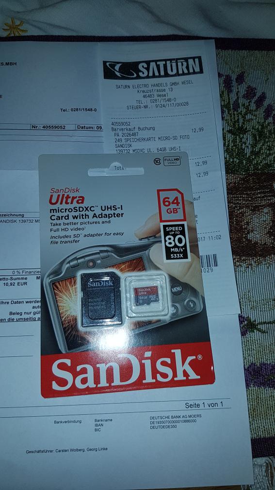 [Lokal] Saturn Wesel, Sandisk Ultra microSDCX 64 GB, 12.99 €