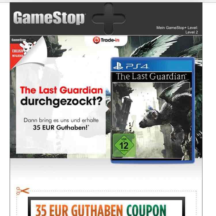 @Gamestop Läden 35€ erhalten bei Abgabe von The Last Guardian