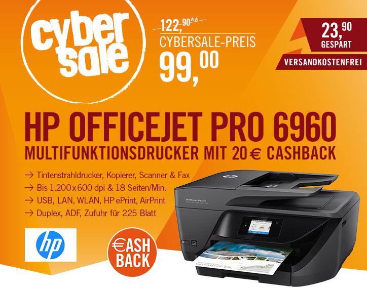 HP OfficeJet Pro 6960 für 99€ + 20€ Cashback = 79€ - Multifunktionsdrucker mit Duplex, ADF, WLAN