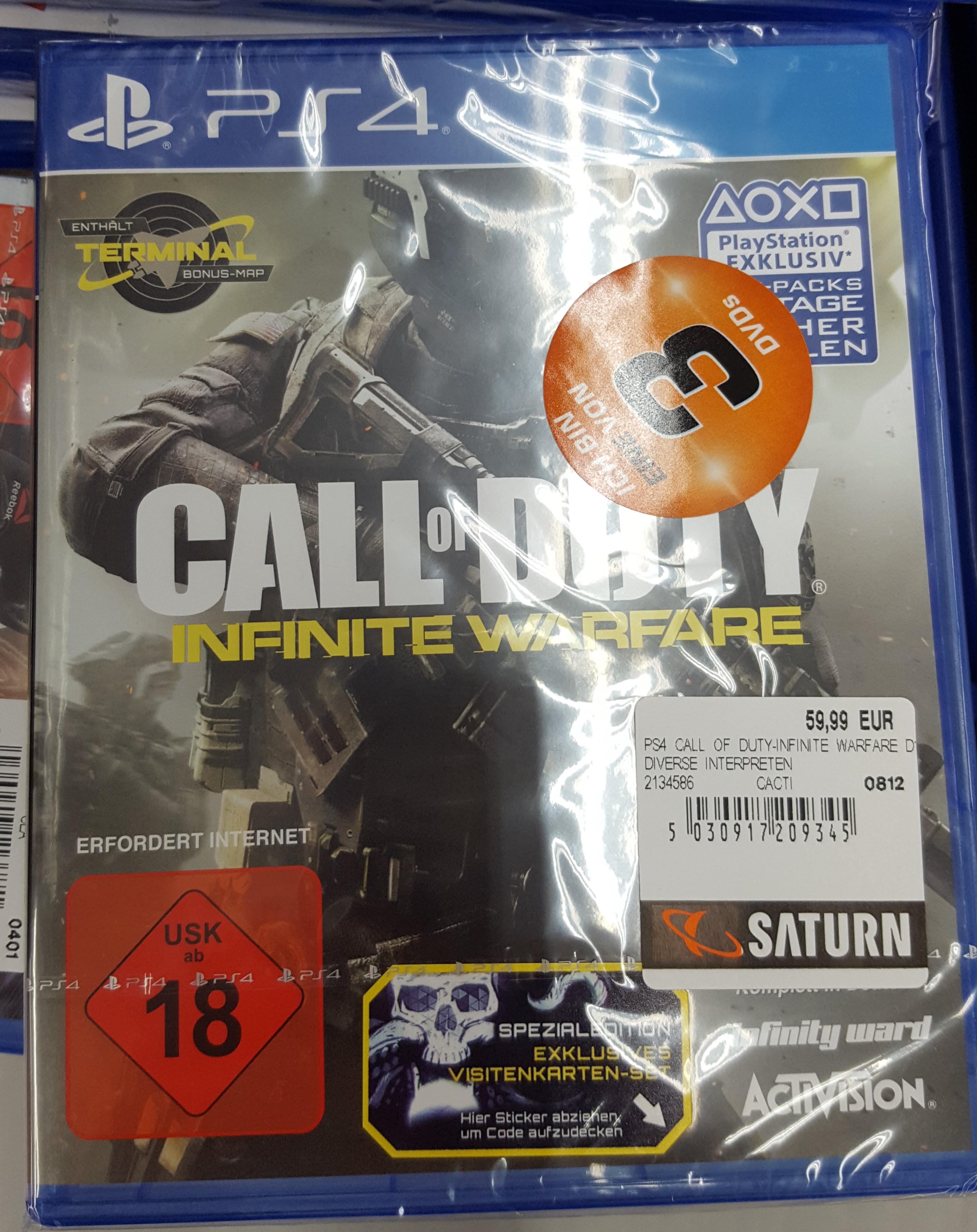"""[Saturn Leverkusen] Call of Duty Infinite Warfare (PS4) Teil der Aktion """"3 für 55€"""", rechnerisch 18,33€ pro Spiel"""