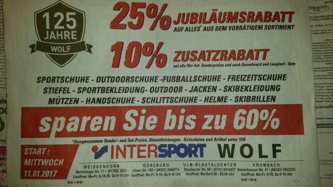 [Ulm, Günzburg lokal] 25% auf alles bis 21.1.17 bei Intersport Wolf