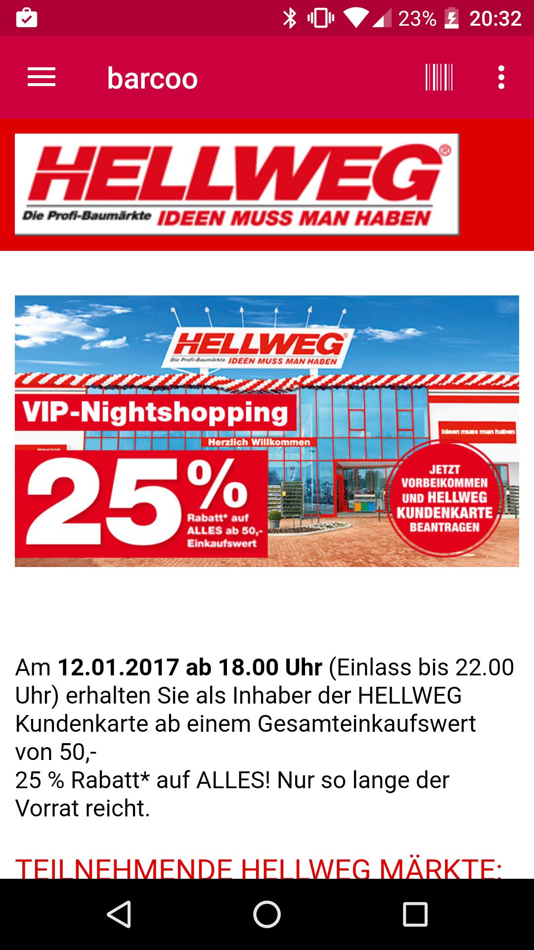 [Berlin und online] 25% Auf Alles bei Hellweg mit Kundenkarte