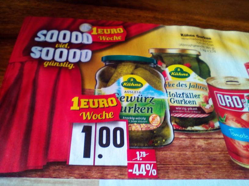 Kühne Gurken mit Gutschein 50 cent ! statt 1,79 Euro